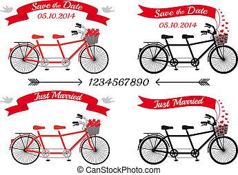vecteur, tandem va bicyclette, ensemble, mariage