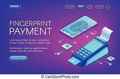 vecteur, technologie, paiement, illustration, empreinte doigt