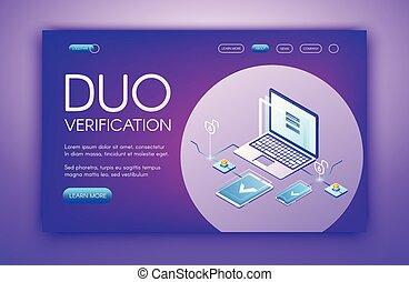 vecteur, technologie, vérification, illustration, duo