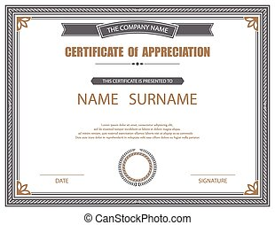 vecteur, template., certificat
