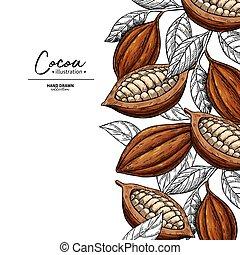 vecteur, template., dessin, organique, superfood, haricot, cacao, frame., fruit, engraving., feuille, nourriture, sketch., sain