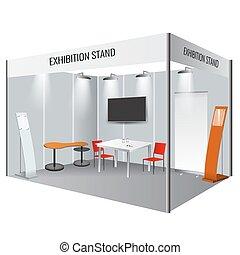 vecteur, template., stand, exposition, identité, créatif, cabine, constitué, design.