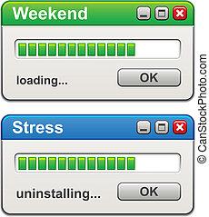 vecteur, tension, chargement, uninstalling, fenetres, informatique, week-end