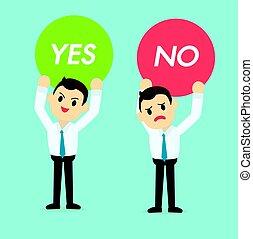 vecteur, tenue, homme affaires, oui, signe, ou, illustration, non