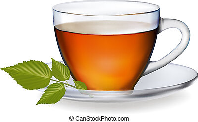 vecteur, thé, leaves., illustration., tasse
