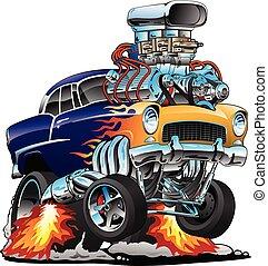 vecteur, tige, grand, classique, chaud, flammes, dessin animé, muscle, voiture, illustration, moteur