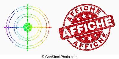 vecteur, timbre, affiche, icône, cible, page, pixel, détresse, arc-en-ciel, calendrier, coloré