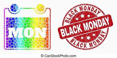 vecteur, timbre, lundi, pointillé, icône, page, gratté, noir, arc-en-ciel, calendrier, coloré