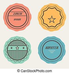 vecteur, timbres, ensemble, retro, insignes