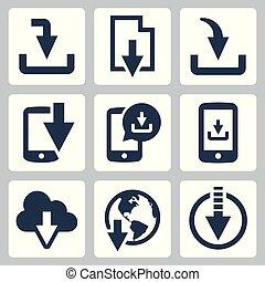 vecteur, toile, téléchargement, ensemble, icône