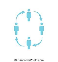 vecteur, toile, travail, gens, concept., arrows., isolé, illustration, arrière-plan., cercle, présentations, sites web, blanc, équipe, conception, apps, icône