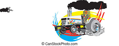 vecteur, traction, tracteur