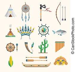 vecteur, traditionnel, icônes concept, vendange, tribal, gens, ornement, illustration, décoration, culture, boho, indien, conception, aztèque, ethnique, plume, éléments, indigène