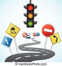 vecteur, trafic, concept, lights., route