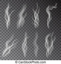 vecteur, transparent, fumée, isolé, blanc, arrière-plan.