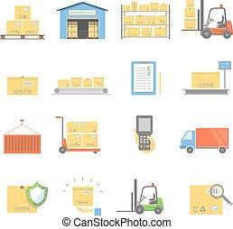 vecteur, transport, entrepôt, isolé, icônes, livraison, plat, ensemble, illustration