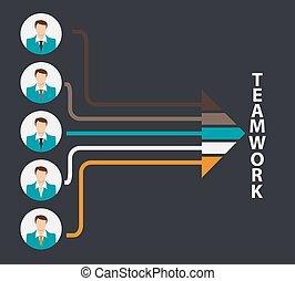 vecteur, travail, plat, illustration, concept, équipe