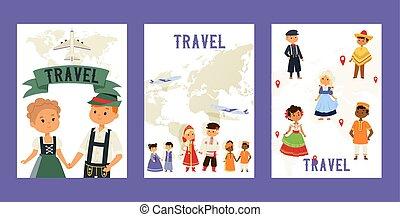 vecteur, traveling., dress., illustration., gosses, national, multiculturel, enfants, traditionnel, affiches, ensemble, cultures., déguisement, caractères, nationalités, amitié internationale, cartes, voyage