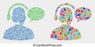 vecteur, triangles, opérateur, message, mosaïque, icône