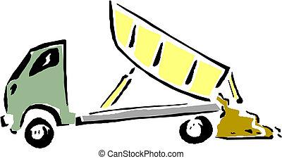 vecteur, truck., dessin animé, décharge