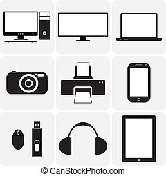 vecteur, tv, gadgets., &, ceux-ci, graphique, icons(symbols), cahier, ordinateur portable, gadgets, simplistic, autre, noir, numérique, illustrations, appareil photo, blanc, électronique