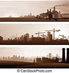 vecteur, urbain, arrière-plans industriels, paysages