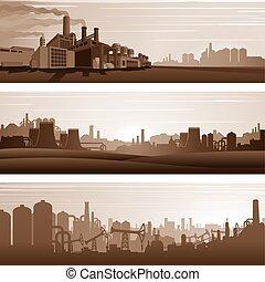vecteur, urbain, industriel, paysages, arrière-plans