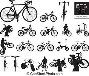vecteur, vélo, ensemble, silhouette