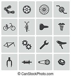 vecteur, vélo, icônes, partie, noir, ensemble