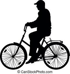 vecteur, vélo, silhouette, grand-père