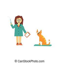 vecteur, vétérinaire, illustration, cat., dessin animé