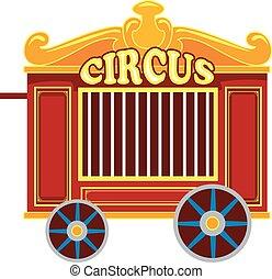 vecteur, vendange, cirque, cage, illustration