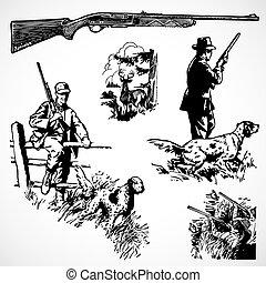 vecteur, vendange, fusils, chasse, graphiques