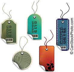 vecteur, vente, étiquettes