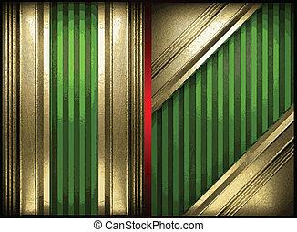 vecteur, vert, or, fond