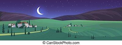 vecteur, vieux, italien, village, nuit, vue, plat, couleur, illustration