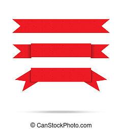 vecteur, vieux, vendange, isolé, étiquette, papier, ruban, populaire, bannière, rouges