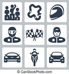 vecteur, voiture, drapeau, piste, casquette, coureur, voiture course, podium, rassemblement, motocyclette, courses, icons:, casque