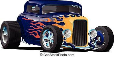 vecteur, voiture, flammes, chaud, illustration, classique, vendange, tige, isolé