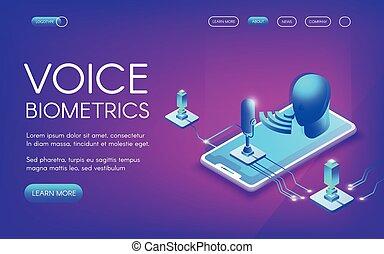 vecteur, voix, biométrie, illustration technologie