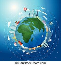 vecteur, voyage mondial, concept, autour de