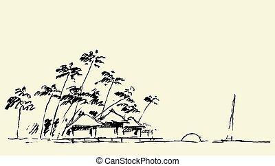 vecteur, vue, bord mer, croquis, croquis, plage