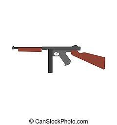 vecteur, vue, munitions, fusil, police, côté, icon., cartouche, objet, symbole, conception, militaire, bataille, fusil, handgun., métal