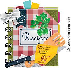 vecteur, xxl, livre, cuisine, icône