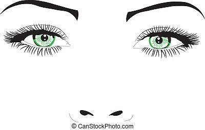 vecteur, yeux, figure, femme, illustration