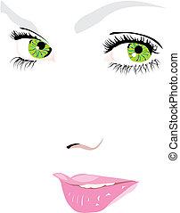 vecteur, yeux, figure, femme, vert, illustration