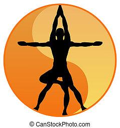vecteur, yoga, équilibre