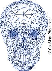 vecto, géométrique, crâne, modèle