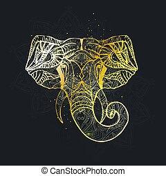 vector., éléphant, résumé, silhouette, india., tête, religion