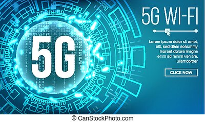 vector., 5g, norme, sans fil, fond, avenir, internet, wi-fi, connection., technologie illustration, network., telecommunication.